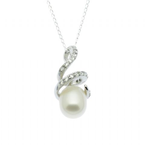 Pearl Pendant Sterling Silver Spiral with Faux Diamond Inlay